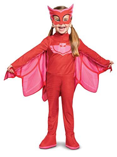 Disfraz de Owlette de PJ Masks de Lujo para niños con luz y máscara de Personaje, tamaño Mediano (3T-4T)