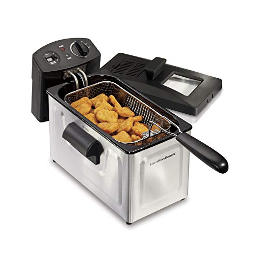 Hamilton Beach Deep Fryer, 12 Cups / 3 Liters Oil Capacity, Frying Basket with Hooks, Lid with View...