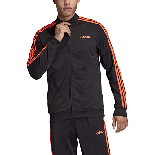 adidas Men's Essentials 3-stripes Tricot Track Jacket (Black/Orange, Large)