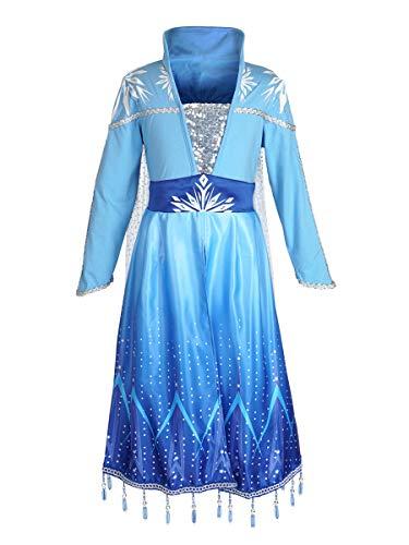CoolChange Frozen 2 Kleid von ELSA, Hochwertiges Eiskönigin Kinder Kostüm, Blau mit Glitzer, Größe: 110