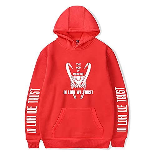 Unisex Loki Hoodie 2D Picture Printed Pullover Super Hero Sweatshirts Cosplay Costume (Red 1, XXL)