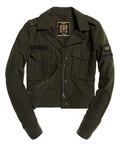 Superdry Damen Military Crop Jacket Jacke, Grün (Washed Khaki GVK), XL (Herstellergröße:16)