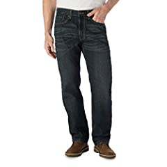 All-day comfort and authentic style Premium flex denim Classic fit through seat and thigh; Straight leg opening Unique fabric varies in color due to wash, finish, and dye Machine wash