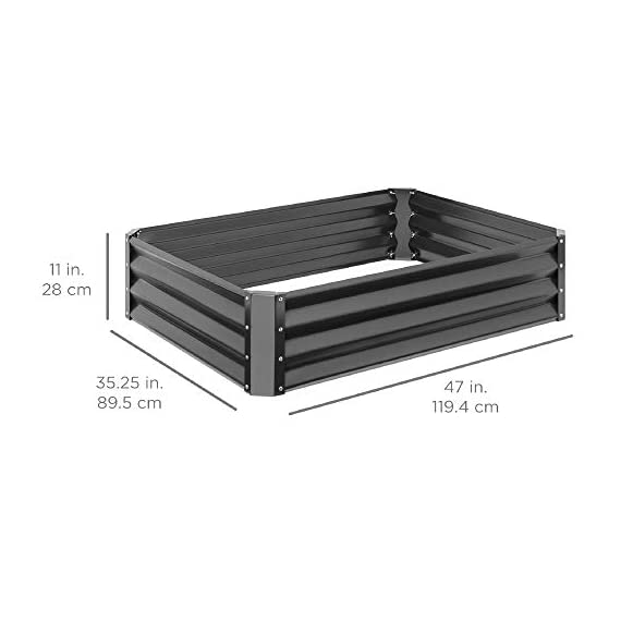 Best Choice Products 4x3x1ft Outdoor Metal Raised Garden Bed Box Vegetable Planter for Growing Fresh Veggies, Flowers… 7 EASY ASSEMBLY: Beveled edges can easily be screwed to the sides using a Phillips screwdriver and the included wingnuts and screws so it's ready in no time BUILT TO LAST: Made of powder-coated steel plates, with a rust-resistant finish to keep your garden bed looking its best for years to come OPEN-BOTTOM GARDEN BED: Built with an open base to prevent water buildup and rot, while allowing roots easy access to nutrients