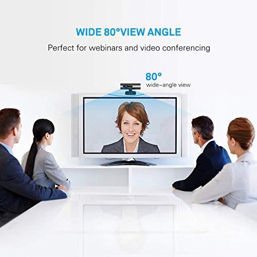 Jelly Comb 1080P Full HD Webcam mit Stereo Mikrofon, 360 ° Drehbare PC Kamera für Skype, Video Chat und Aufnahme, Schwarz