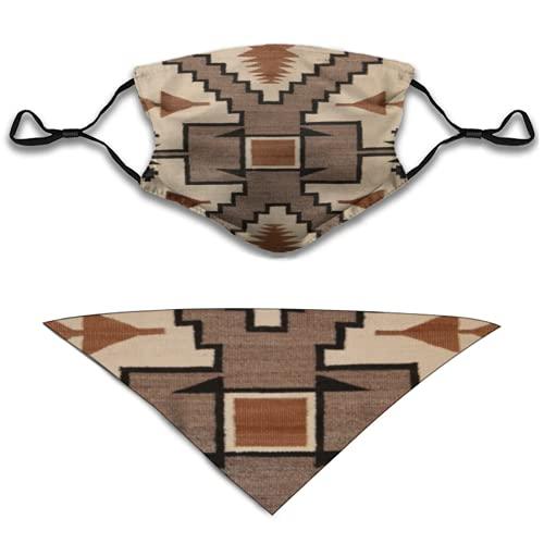 Liliylove 2 mascarillas de tela facial y pañuelo triangular, tribalcultural con patrón de tormentas, baberos lavables y pasamontañas transpirable para hombres y mujeres y perros accesorios