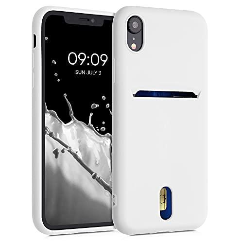 kwmobile Funda Compatible con Apple iPhone XR - Carcasa de Silicona con Tarjetero y Acabado de Goma - Blanco