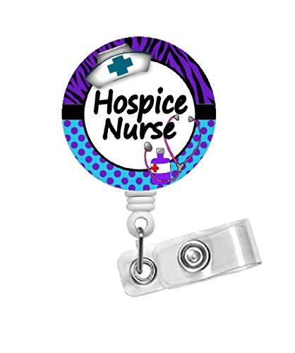Hospice Nurse Zebra BlueName Badge Holder - Hospice Badge Reels - Id Badge Holder - Id Badge Reel - Nurse Id Badge Clip - Geriatric Badge - Nursing Name Tag (Alligator Swivel Clip)
