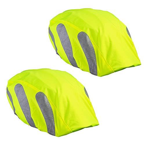 ECENCE 2x Helmüberzug Fahrradhelm - Helmüberzug Fahrrad - Regenhülle Fahrradhelm - Universal Helmschutz Fahrrad wasserdicht Neon mit Reflektorstreifen