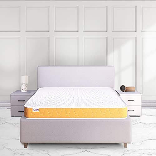 SleepX Dual Comfort Mattress - Medium Soft and Hard - Queen Bed Size (Orange, 72*36*5)
