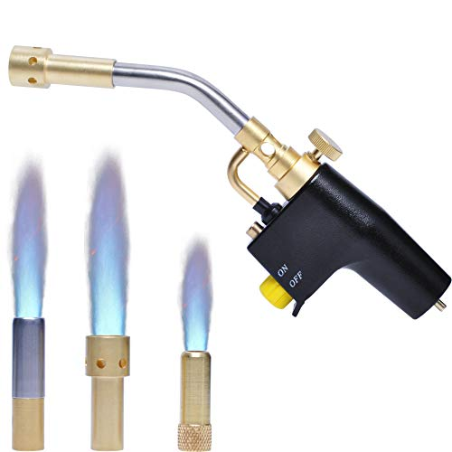Propane Torch Kit with 3 Nozzles by Wadoy, High Intensity Trigger-Start Soldering Torch TS-8000 Use with MAPP Propane for Soldering, Brazing, Welding