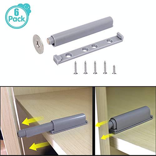 Profi Drucktüröffner mit magnetischer Zuhaltung, Push-open-system Dämpfer Puffer, Druck-Möbelschnäpper Schublade & Schranktüren (Enthält Schrauben) (6 Pack)