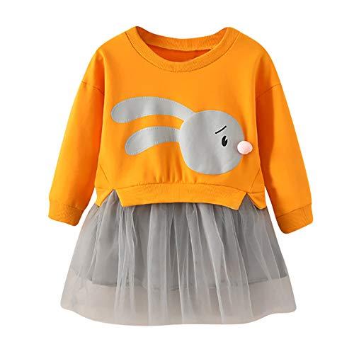 OSYARD Kinder Baby Mädchen Cartoon Bunny Pullover Kleid Patchwork Prinzessin Tüll Kleid Sweatshirt Kleidung,Kleinkind Niedlich Langarm Tops Shirts Oberteile Dress Party Kleid Minikleid(1-5 Jahre)