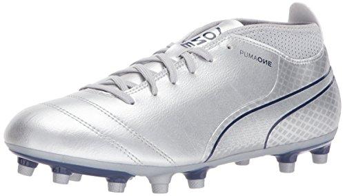 PUMA Men's ONE 17.4 FG Soccer Shoe, Silver-Blue Depths, 13 M US