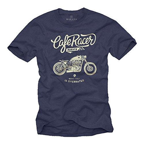 Idée Cadeau Moto - Vintage Cafe Racer Harley - T-Shirt Motard Homme Bleu L