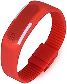 Unisex Digital LED Dial Silicone Band Watch-red