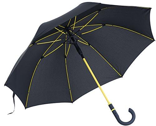 vanVerden - Automatik Regenschirm - Sturmfest (TÜV geprüft), Windfest, Leicht, Stabil - Fiberglas Rahmen 112cm Durchmesser, 90cm Länge, Farbe:Anthracite/Yellow