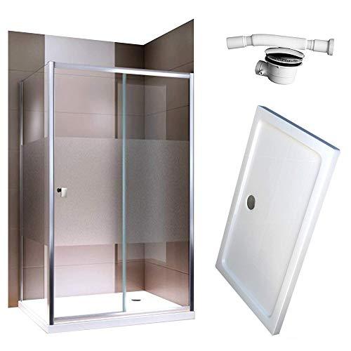 Duschabtrennung Schiebetür EX504-Kombi Milchglas Streifen NANO Rechts- oder Linkseinstieg Easy-Clean-Funktion Dusche mit Alu-Rahmen, Maße Duschkabine:120x80cm, Duschtasse:Mit Duschtasse