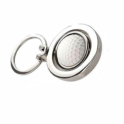 ISKYBOB 2 Pack Creative Rotating Golf Keychain, Metal Pendant Key Ring Keyfob Gift