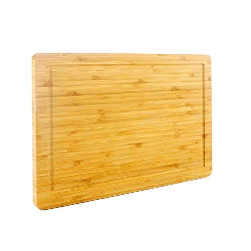 PurenjoyStyle Bambus-Schneidebrett mit Saftrille, Schneidebrett für Küche, robuster Metzgerblock für Fleisch, Obst und Gemüse, BPA-freies Tranchierbrett (Original, 38 x 25 cm)
