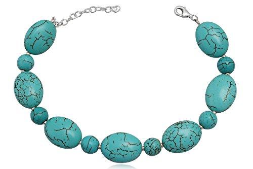 EYS Damen-Armband Türkis 925 Sterling Silber blau grün im Etui Armkette
