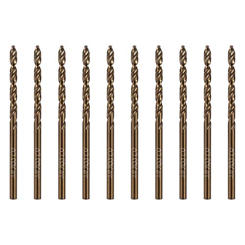 Girls'love talk 10 Pcs Drill Bit Sets, M35 HSS Gold Cobalt Jobber Metric High Speed Steel Twist Drill Bits Set 3mm x 61mm for Drilling Stainless & Steels, Cast Iron, Copper, Aluminum, Wood & Plastic