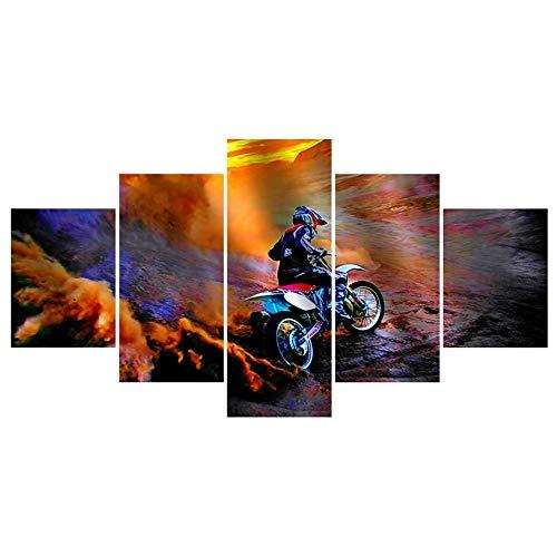 MSDEWLH 5 schilderijen op canvas mountainbike sport druk HD foto kunst muur decoratie woonkamer modern Manifesto 8x14in 8x18in 8x22in