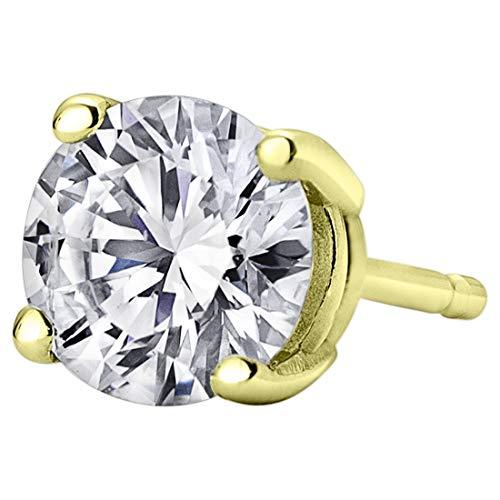 Peora ラボ グロウン ダイヤモンド シングル スタッド イヤリング メンズ 14K ホワイトまたはイエローゴールド (0.10〜0.50カラット) F-Gカラー SI-Iクラリティ クラシック 4 プロング ソリティア フリクションバック