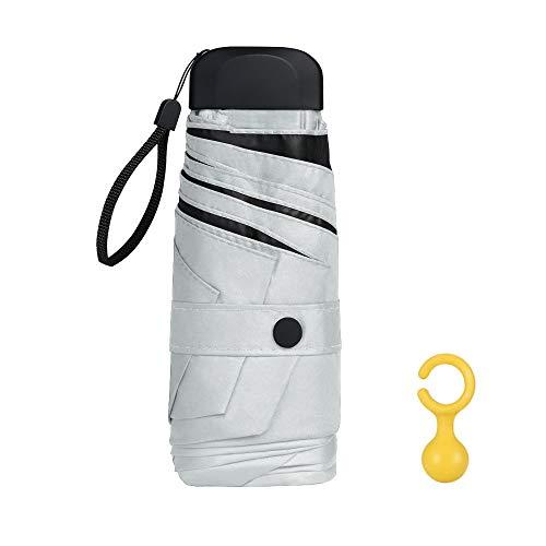 Vicloon Mini Regenschirm, Taschenschirme mit Regenschirmhaken, 6 Rippen, Aluminium Schirmständer, Sonnenschutz Regenschirm Im Freien UV Faltender Regenschirm, Goldener Griff, Leicht Kompakt - Weiß