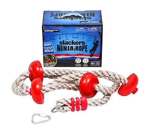 Slackers USA klimtouw, touwladder voor Ninja Line, breiladder, schommel, klimrek, boomklimmen, meer dan 2,5 meter lang, 4 voetsteunen, 980022