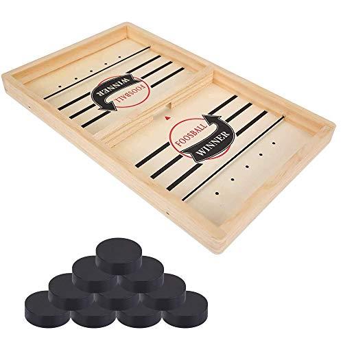 juego de mesa de hockey de madera, ZoneYan juego de hockey de escritorio, hockey de madera portatil, Fast Sling Puck Game, ajedrez catapulta, Juego de Mesa Fast Sling Puck, para Niños Adultos (Grande)
