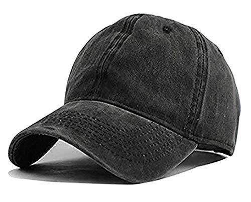 Unisex Vintage Washed Distressed Baseball Cap Twill Adjustable Dad Hat,G-black,One Size