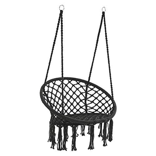 Ltong ronde hangstoel stoel Buiten slaapzaal slaapkamer tuin voor kind Volwassen swingende hangende enkele veiligheidsstoel hangmat, zwart