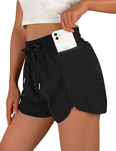 Blooming Jelly Womens Athletic Running Shorts Elastic Waist Gym Workout Shorts with Zipper Pocket (Small, Black)