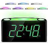 Home LED Digital Alarm Clock, 12/24 H, 7 Color Night Light, Large 7' Display, Full Range Dimmer, 2 USB Chargers,Big Snooze, Plug in & Easy Operation Alarm Clockfor Kids, Bedrooms Desk