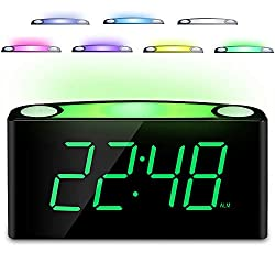 Mesqool Loud Alarm Clock with 7 Color Nightlight,7 Big Green LED Digit & 0-100% Fully Dimmable,2 USB Charger,12/24H,Snooze,Electronic Easy Program Digital Clock for Senior Teenage Boy Girl Home Table
