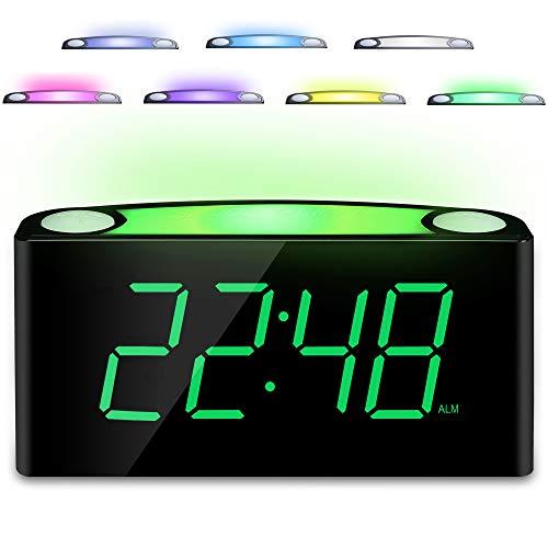 """Nachtlicht Wecker,Reisewecker,LauterAlarmPlug-in-Uhr,7"""" Digital LED-Anzeige, GroßFarbigesNachtlicht,Helligkeitsregler & Alarm Lautstärke Regelbar,12/24H,2USB-Stromanschluss,Snooze"""