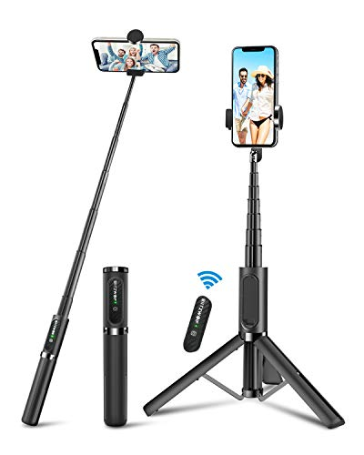 Selfie Stick Tripod, BlitzWolf Lightweight Aluminum All in One Extendable Phone Tripod Grey Selfie Stick Bluetooth with Remote for iPhone Xs MAX/XR/XS/X/8/8 Plus/7/7 Plus, Galaxy S10/S9/S9 Plus, More