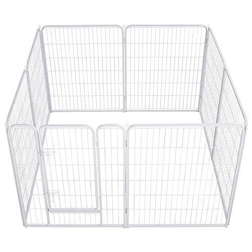 Topeakmart 40-inch Heavy Duty Foldable Metal Pet Dog Pen Fence Puppy Exercise Playpen Barrier Enclosures w/Door Indoor Outdoor White 8 Panels