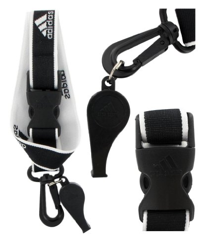 adidas Coaches Lanyard and Whistle, Black/White, OSFA