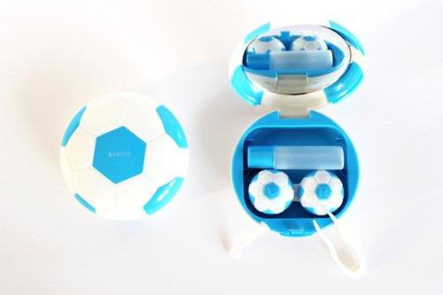 Kontaktlinsenbehälter Aufbewahrungsbehälter Etui Set Spiegel Motiv Fußball Blau NEU