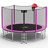 Kangaroo Hoppers 15 FT Trampoline with Safety Enclosure Net, Basketball Hoop and Ladder -2021 Upgraded Kids Basketball Hoop Trampoline TUV & ASTM Tested -Multiple Color Choices(PINK-15FT)
