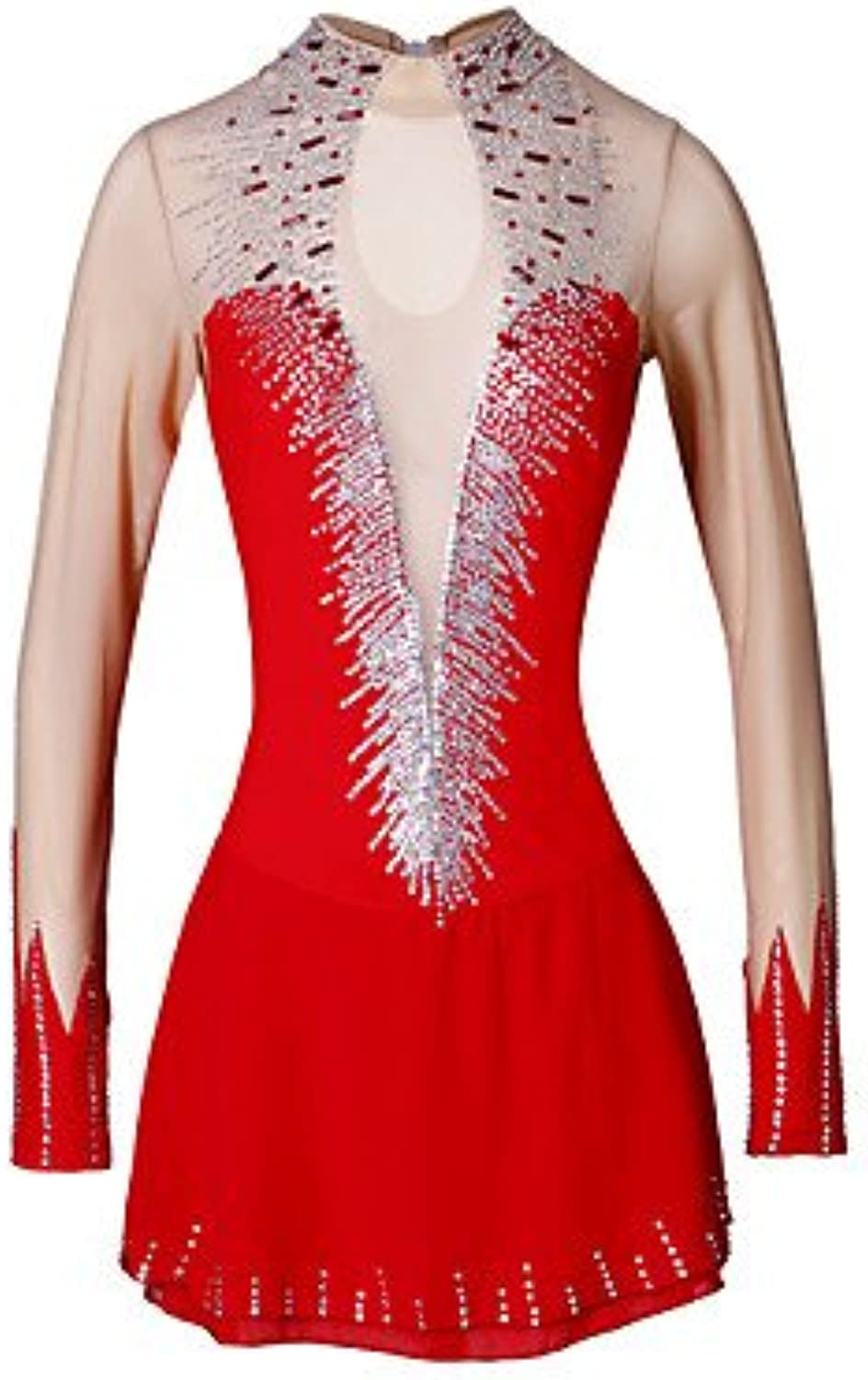 Heart&M Handmade Ice Skating Dress for Girls Women Figure Skating Competition Costume Elastic Long Sleeved Red