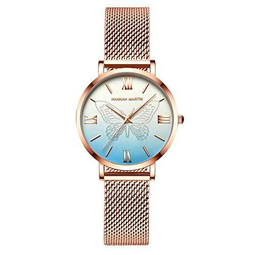 Hannah Martin Japón Relojes de Cuarzo para Mujer, a Prueba de Agua, con Oro Rosado, Malla de Acero Inoxidable, Reloj de Pulsera con Mariposa (Azul)