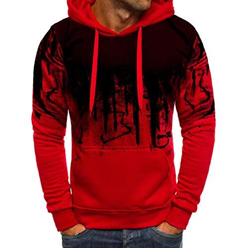 HNOSD 2019 Herbst Camouflage Gedruckt Hoodies Männer Streetwear Trainingsanzug Mit Kapuze Sweatshirts Männlich Lässig Mann Hoodie Pullover Dropshipping Rot M