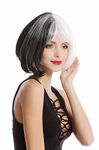 WIG ME UP- GF-W2289-1+1001 Peluca mujer corta Cosplay peinado Bob/Longbob mitad color blanca mitad negra