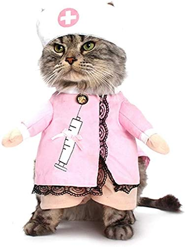 ODOLDI Pet Nurse Costume for Dog Cat Clothes Funny Cosplay Apparel Outfit Uniform S