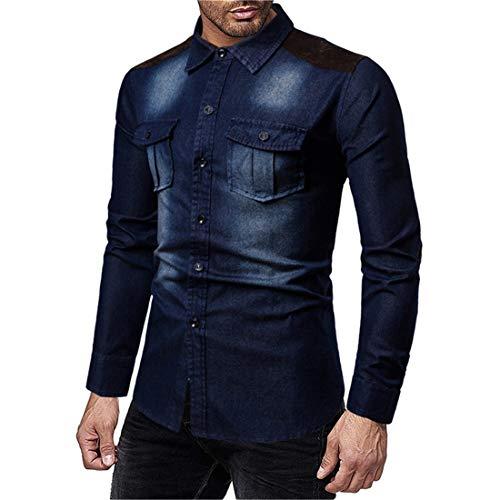 Jeanshemd Herren Denim Shirt Langarmhemd Freizeit Hemd männer Business Casual Hemd Cowboy-Style Vintage Denim-Shirt Basic Jeanshemden mit Knopfleise Wash Faded Ripped Jeanshemden 2XL