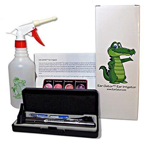 Ear Wax Removal Kit - Ear Gator Ear Irrigator Plus Third Generation Dr Mom LED Otoscope Plus Lighted Ear CURETTES