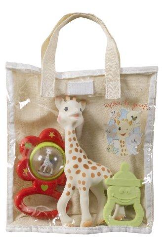 SOPHIE LA GIRAFE 516343 - Bolsa regalo de algodón (Sophie la girafe + anillo de dentición biberón vanilla + sonajero flor), modelos surtidos, Azul